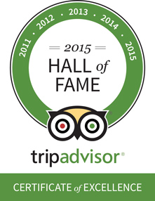 Trip Advisor Hall of Fame - Certificate of Excellence 2011-2015