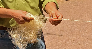 Making rope from agave fibers