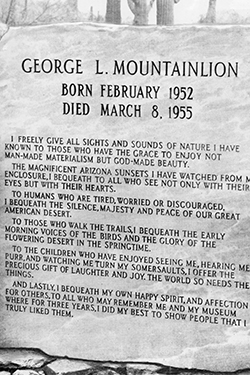George L Mountainlion Memorial Plaque