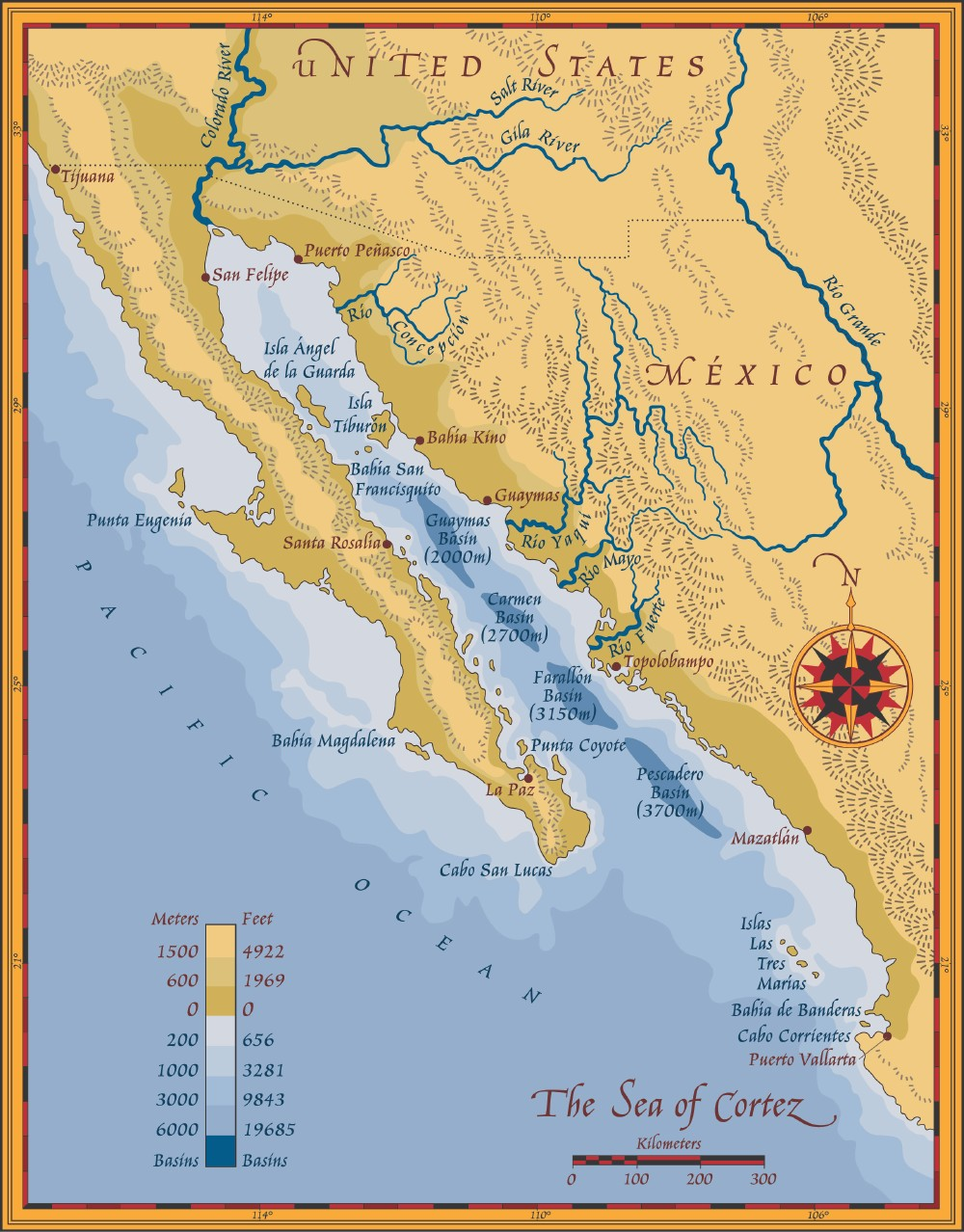 Map of the Sea of Cortez