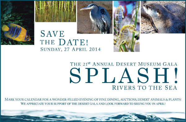 Save the Date! Sunday, 27 April 2014 - the 21st Annual Desert Museum Gala - Splash! Rivers to the Sea - Mark your calendar for a wonder-filled evening of fine dining, auctions, desert animals and plants! We appreciate your support of the Desert Gala and look forward to seeing you in April!