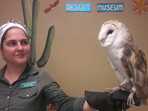 Photo of Educator Michelle with owl