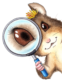 Young female packrat (illustration) with magnifying glass